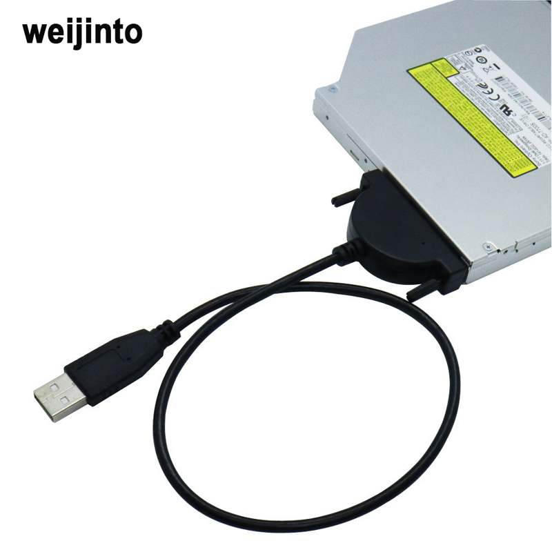 WEIJINTO USB 2.0 to Mini Sata II 7+6 13Pin Adapter Converter Cable for Laptop CD/DVD ROM Drive leadzoe usb 3 0 to sata ide hdd coverter adapter dvd rom cd rom cd rm combo dvd rw adapter for 2 5 3 5 hdd hard drive converter
