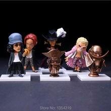 New anime one piece 6pcs/set action figure doll Kuzan Edward Newgate Doflamingo Mihawk Shanks Roger kids model toys juguetes