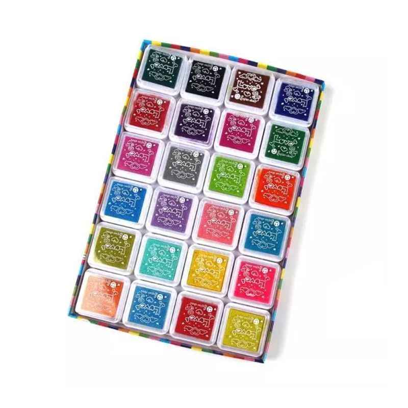 24 Pcs Mini Kids Vingerafdruk Schilderij Kleurrijke Inkt Pad Stempel Partner Kindje DIY Art Craft Seal Graffiti Tool Vroege Educatief speelgoed