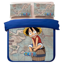 NEW 100% polyester Cotton One Piece Anime Bedroom full queen king size cartoon Bedding Sets Boys Kids duvet cover Set pillowcase
