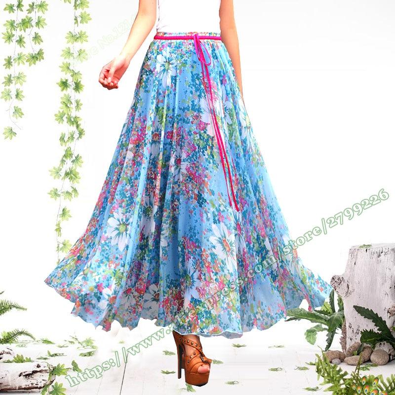2018 Plus Size 6XL 5XL XXXXXL Fashion Summer Wweet Elegant Floral Chiffon feminina Long Skirt Female