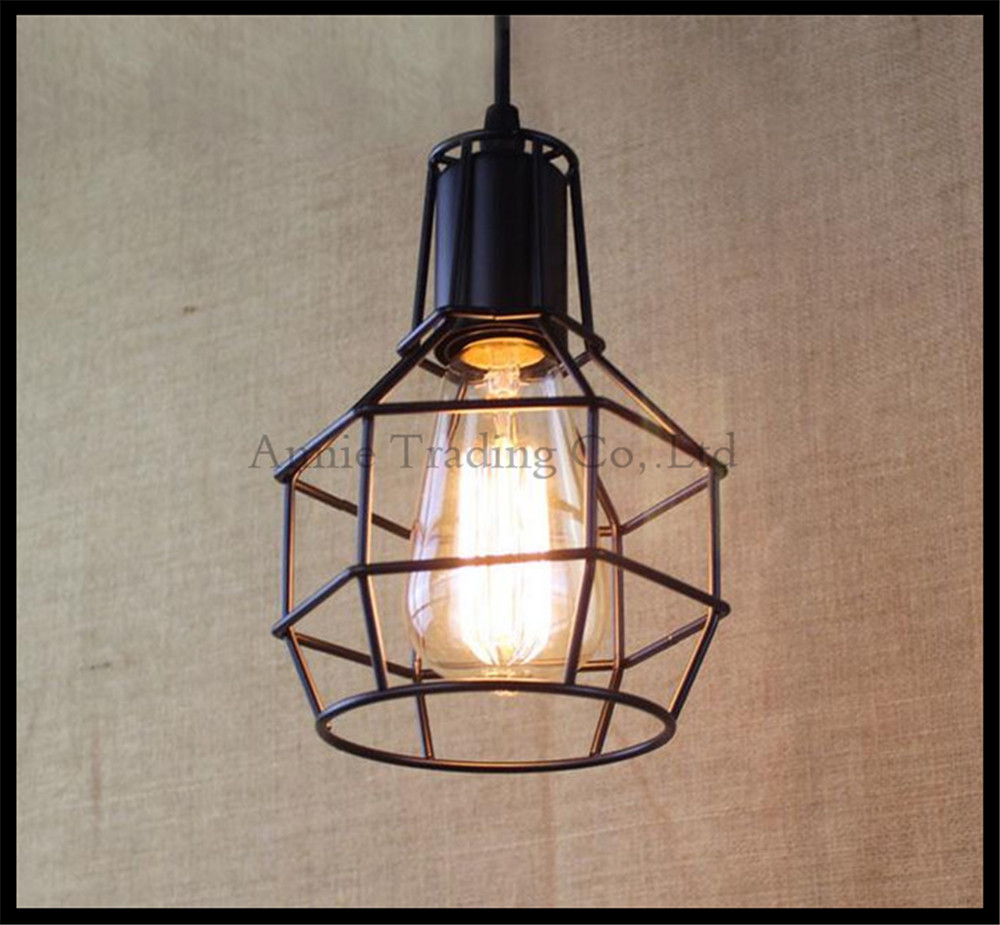 Industrial Warehouse cage Pendant Lights American Country Lamps Vintage Lighting for Restaurant/Bedroom Home Decoration Black