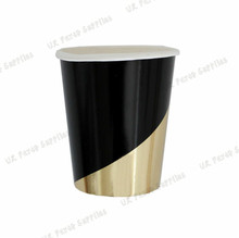 40 Sets Disposable Black & Foil Gold Dinner Tableware Sets Paper Plates Cups Napkins Carnival Baby Shower Party Decor Supplies