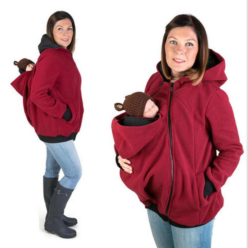 ใหม่ 2018 หนาการตั้งครรภ์ขนสัตว์ babywear Maternity Hoodies Baby Carrier Jacket Kangaroo Outerwear Hoodies & เสื้อ