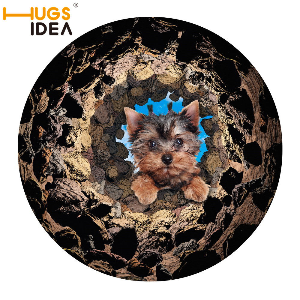 HUGSIDEA 3D Dog with Deep Stone Hole Round Carpet 60x60cm Thin Rubber Door Mat for Kids Bedroom Carpet and Rugs for Living Room
