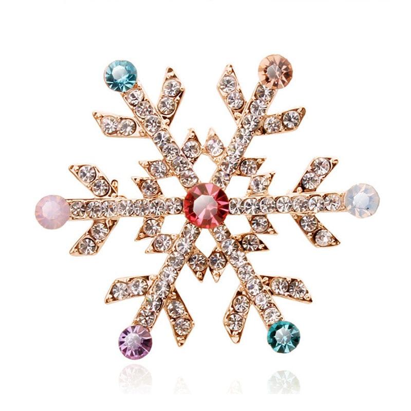 2Pcs Strass Cristal Flocon de neige femme mariage Noël Bijoux Broche PINS