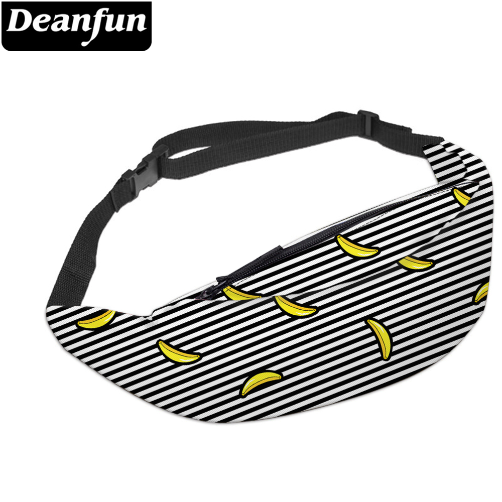 Deanfun 3D Printed Waist Bags Classic Stripe Banana Fanny Pack With Zipper Safe For Travelling YB20
