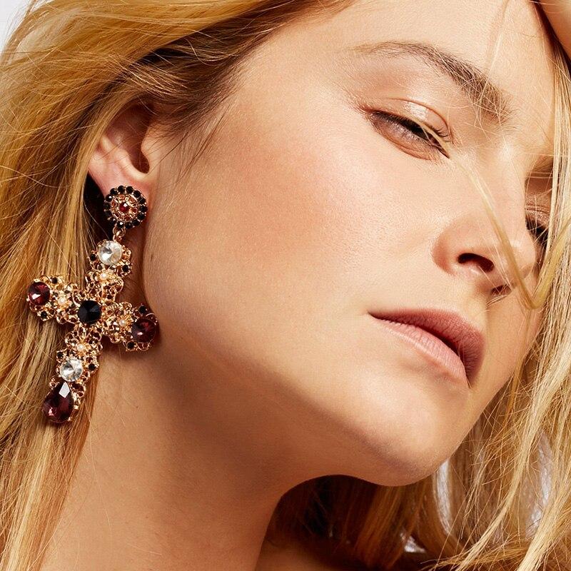 Crystal Cross Drop Earrings 2