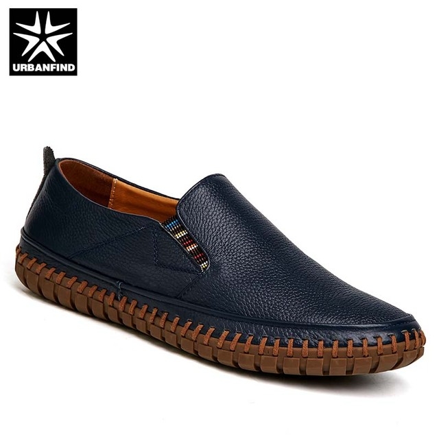 d4c1ed73a0a 2019 Natural Leather Men Casual Slip-on Loafers Big Size 38-47 Sewing  Design Male Breathable Summer Shoes 5 Colors Black White