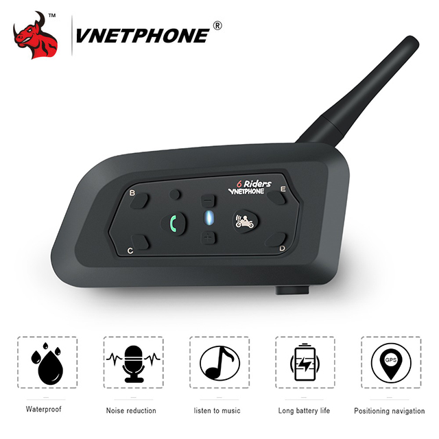 VNETPHONE Motorcycle Intercom Helmet Headset Motorcycle Rider Capacete Wireless Bluetooth Comunicador Moto Headset Interphone