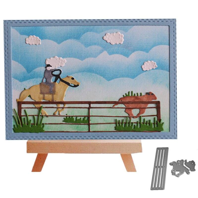 Bi fujian 2pc horse and farm Metal Cutting Dies Crafts Embossing Scrapbooking Dies Carbon Cuts Paper Card Stencil For book Decor