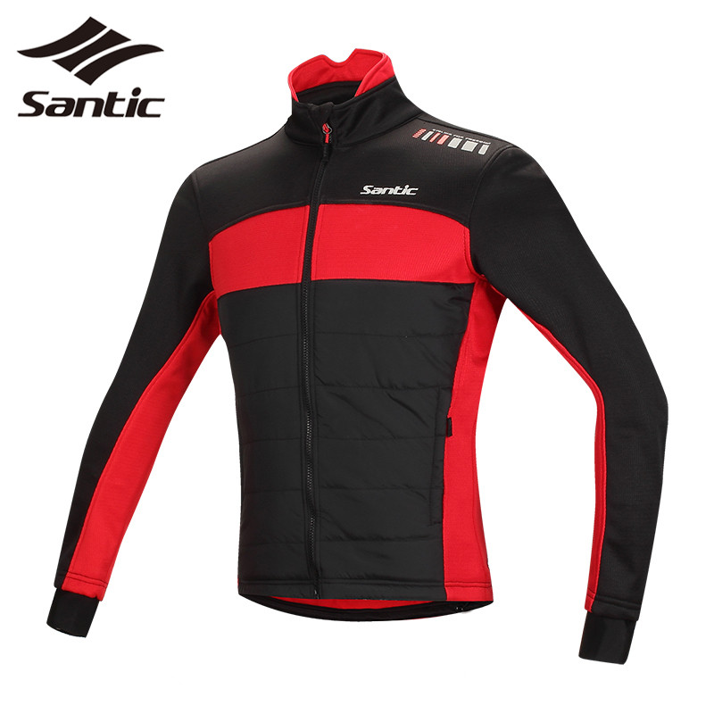 Santic Winter Cycling Jacket Men Long Sleeve Fleece Thermal MTB Road Mountain Bike Jacket Windproof Bicycle Jersey Downhill Coat