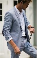 Light Gray Linen Suit For Beach men Wedding Groom Tuxedos Mens Prom Blazer Suit Casual Style 2pcs(Jacket+Pants)