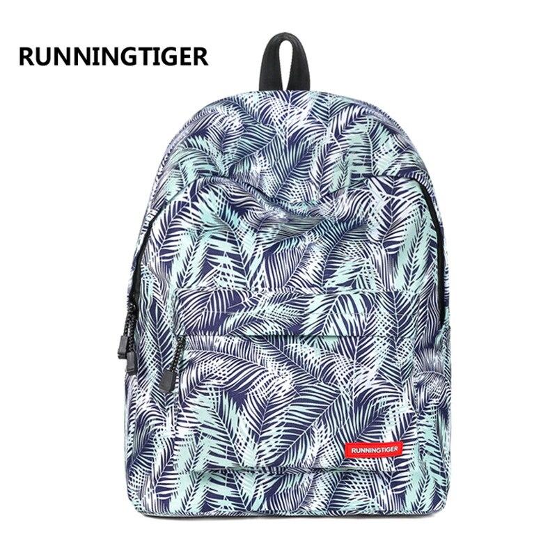 Мода листьев Отпечатано Для женщин и Для мужчин рюкзак Повседневное школьные сумки для подростков мальчиков и девочек Колледж студентов пу...