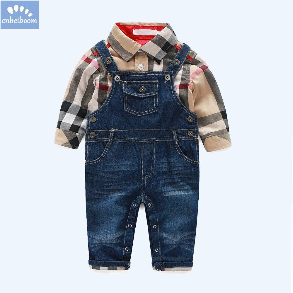 New gentleman clothes sets baby boys long sleeve cotton plaid t shirt +denim overalls suit autumn infant clothing newborns dress