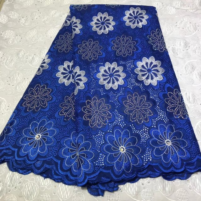 Blue French Lace Fabric For Wedding Dress 2019 High Quality African Lace Fabrics With Beads Nigerian Swiss Voile Lace Fabric