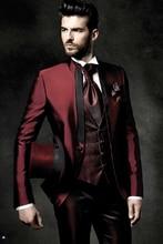 Latest Coat Pant Designs Italian Burgundy Satin Men Suit Slim Fit Tuxedo 3 Piece Groom Suits Prom Custom Blazer Terno Masculino