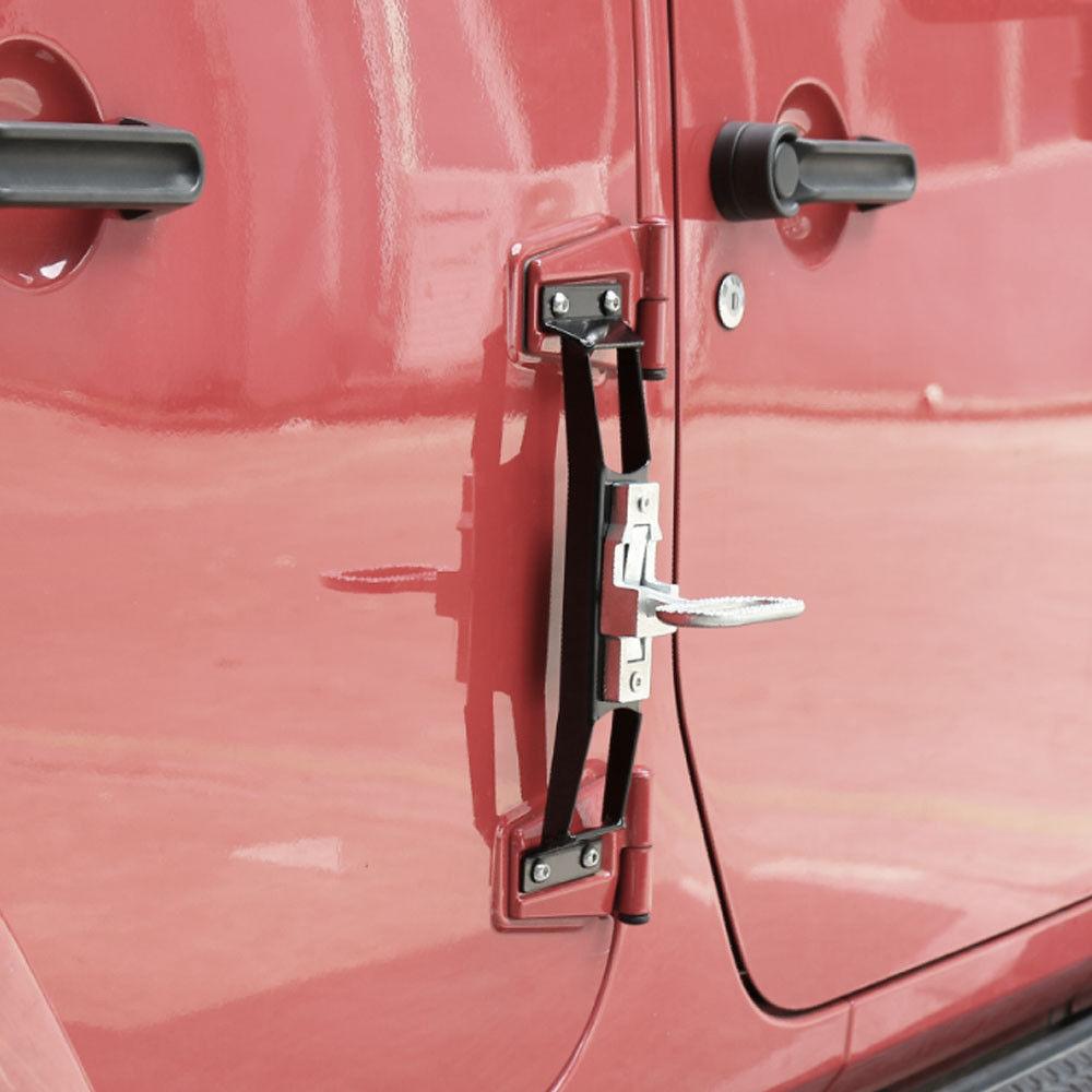 ФОТО Metal Car Door Hinges Foot Rest Pedal Peg No Drilling Fit For Jeep Wrangler JK 2007-2016