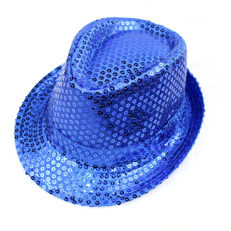 Unisex Men Women Fashion Sequined Shiny Fedora Jazz Hats Casual Solid  Outdoor Performance Caps Glitter Bucket Sun Hat Festival-in Fedoras from  Apparel ... dd0e2af8040
