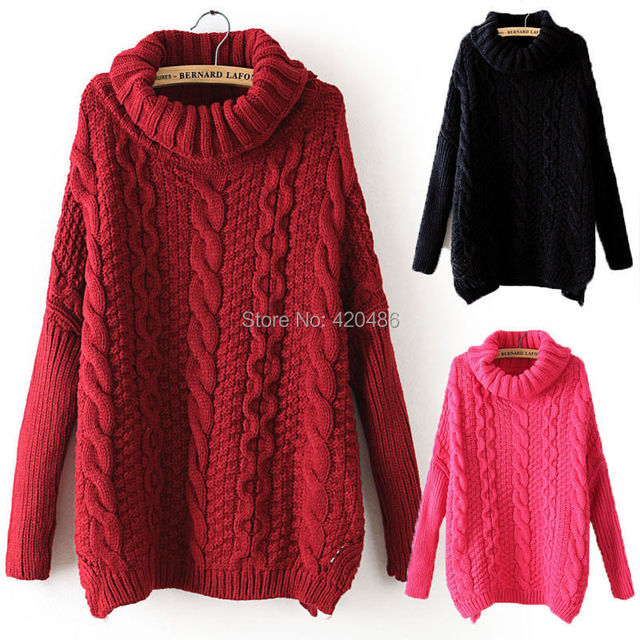 New Fashion Women Autumn Sweater Casual Long Sleeve Turtleneck ...