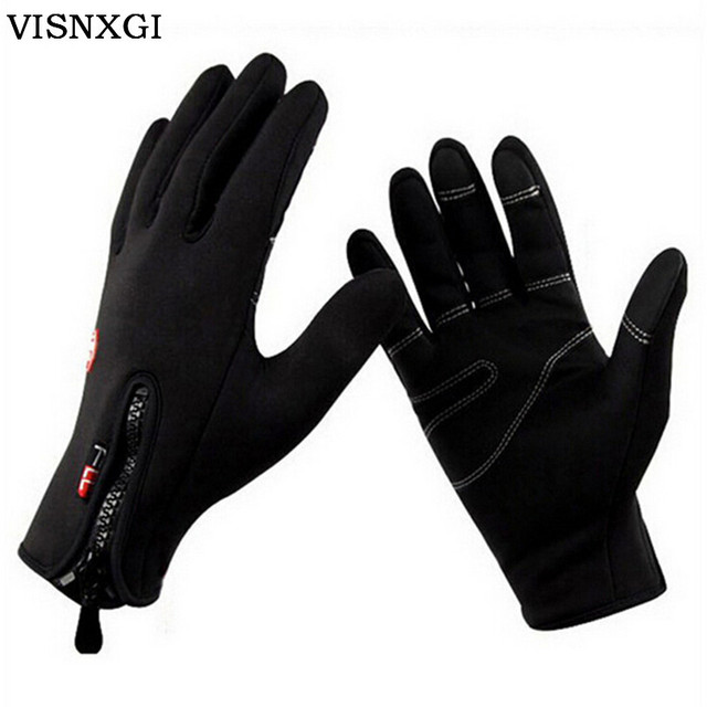 VISNXGI 2017 Women Gloves Unisex Mittens Windproof Gloves With Leather Zipper Tactical Guante For Men Winter Warm Guantes G097