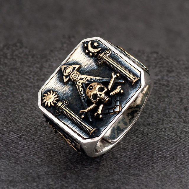 ORIGINAL 925 SILVER FREEMASON SKULL RING
