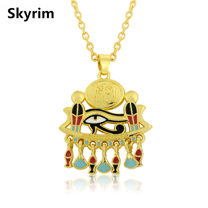 Skyrim Luxury Jewelry Necklace Making Gold Enamel Evil Eyes Charm