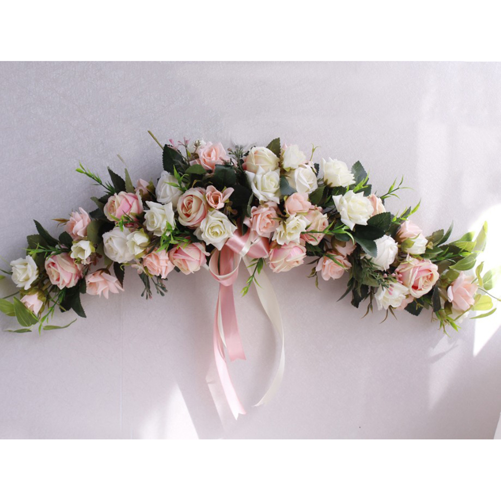 Simulation Rose Flower Chair Back Window Mirror Wall Door Wreath Garland Lintel Flower Hanging Wedding Decorations