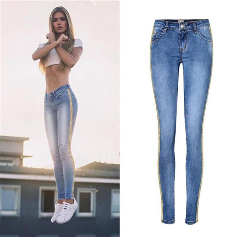 SupSindy Hot Women Jeans European Style Fashion Gold Glitter Stripe Slim Pencil Pants Ladies Blue Jeans For Women Denim Trousers