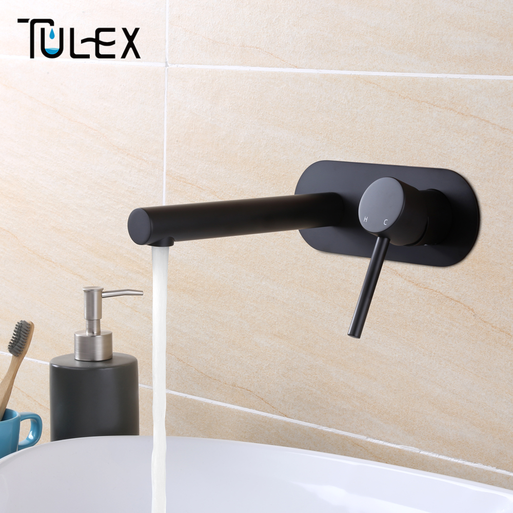 TULEX Bathroom Basin Mixer Black Brass Wall Mounted Faucet Chrome Crane Single Handle Mixer Tap Hot And Cold Water On sale china sanitary ware chrome wall mount thermostatic water tap water saver thermostatic shower faucet