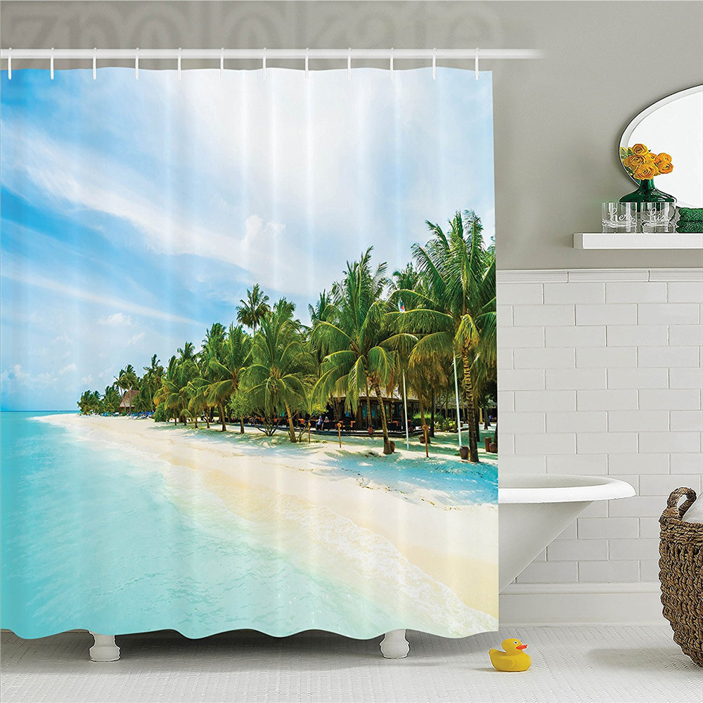 Ocean Surreal Beach and Sea in Tropical Island with Coconut Palm Trees Ocean Exotic Lands Polyester Bathroom Shower Curtain Tur