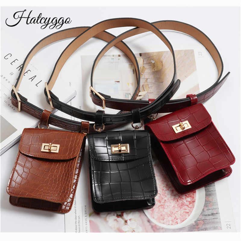 6e0059f6976 HATCYGGO Vintage Waist Bag Belt Leather Fanny Pack For Women Belt Bags  Crocodile Waist Pack Bag Small Pouch Phone Female Purse