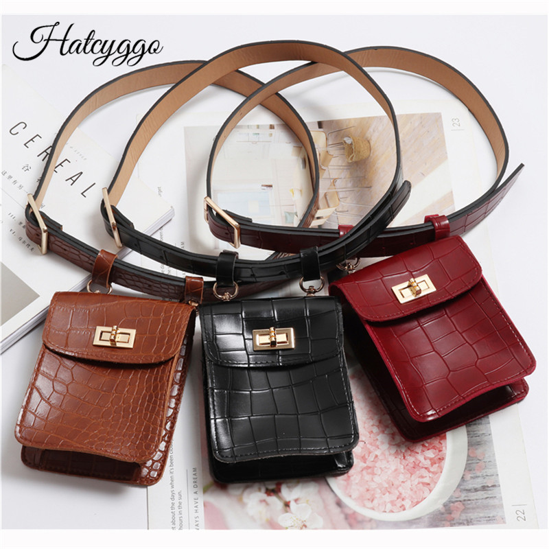 HATCYGGO Vintage Waist Bag Belt Leather Fanny Pack For Women Bags Crocodile Small Pouch Phone Female Purse