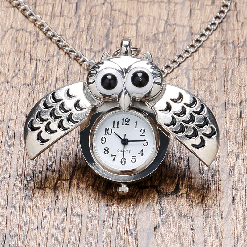 Cute Silver Vintage Night Owl Necklace Pendant Quartz Pocket Watch Necklace P26 vintage bronze retro slide smart owl pocket pendant long necklace watch 8juh