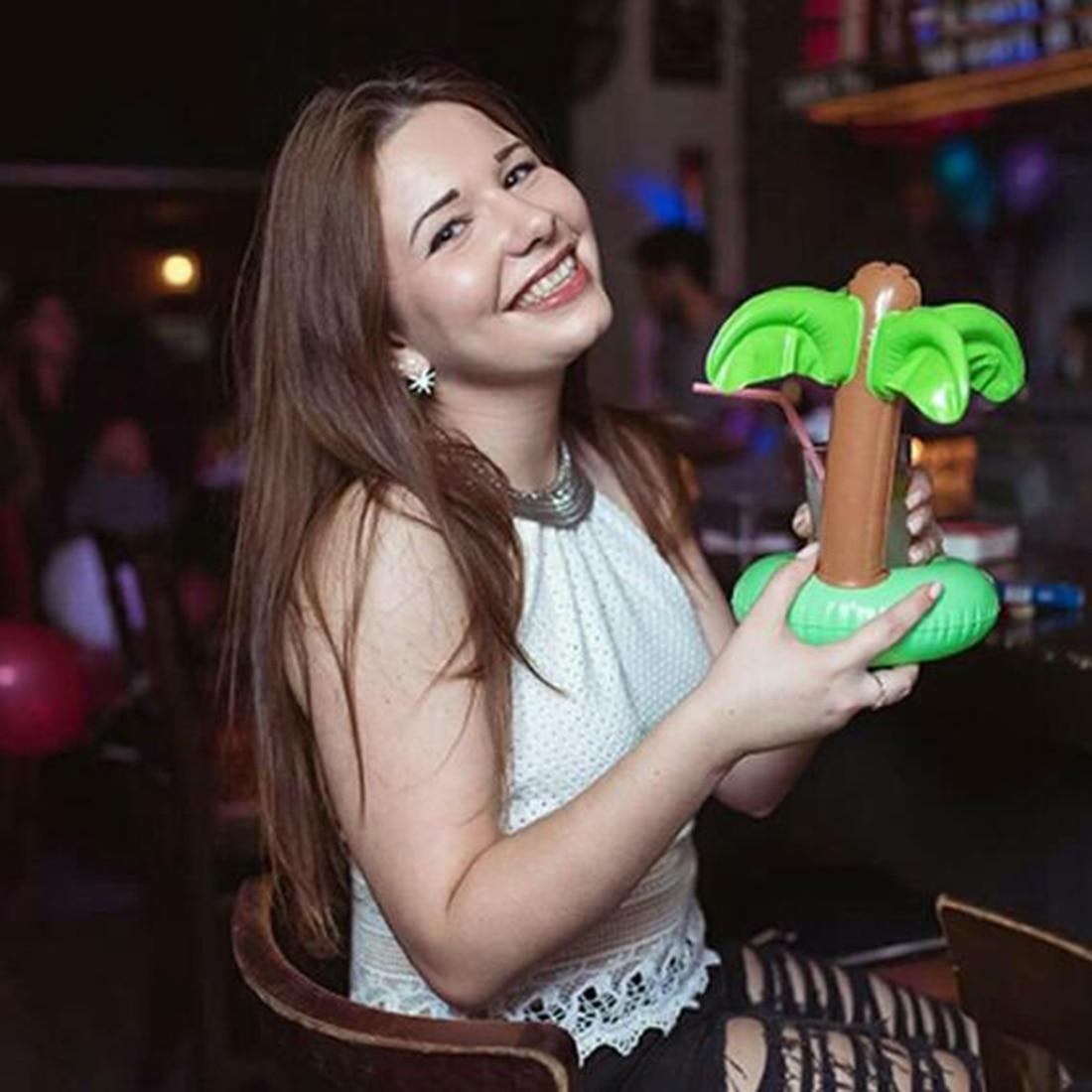 Модные замечательный ПВХ плавающие игрушки ванны мини кокосовых пальм напиток может держатель плавательный бассейн для купания пляжные ве...