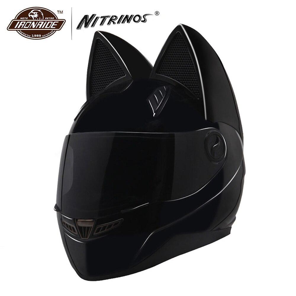 NITRINOS Moto Casque Femmes Moto Casque Chat Casque Intégral Casque Moto Casco Chat Cornes Casque de Moto Capacete