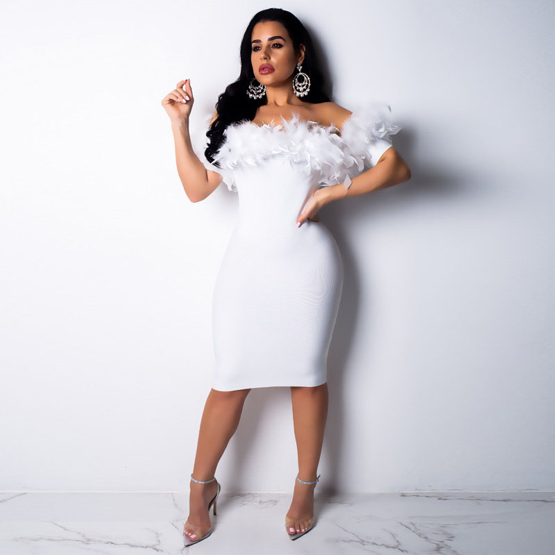 US $15.56 26% OFF|2018 Autumn Tight Knitted Dress Vestdios Plus Size Women  Dress Off Shoulder Patchwork Feather Night Club Dress Women Clothing-in ...