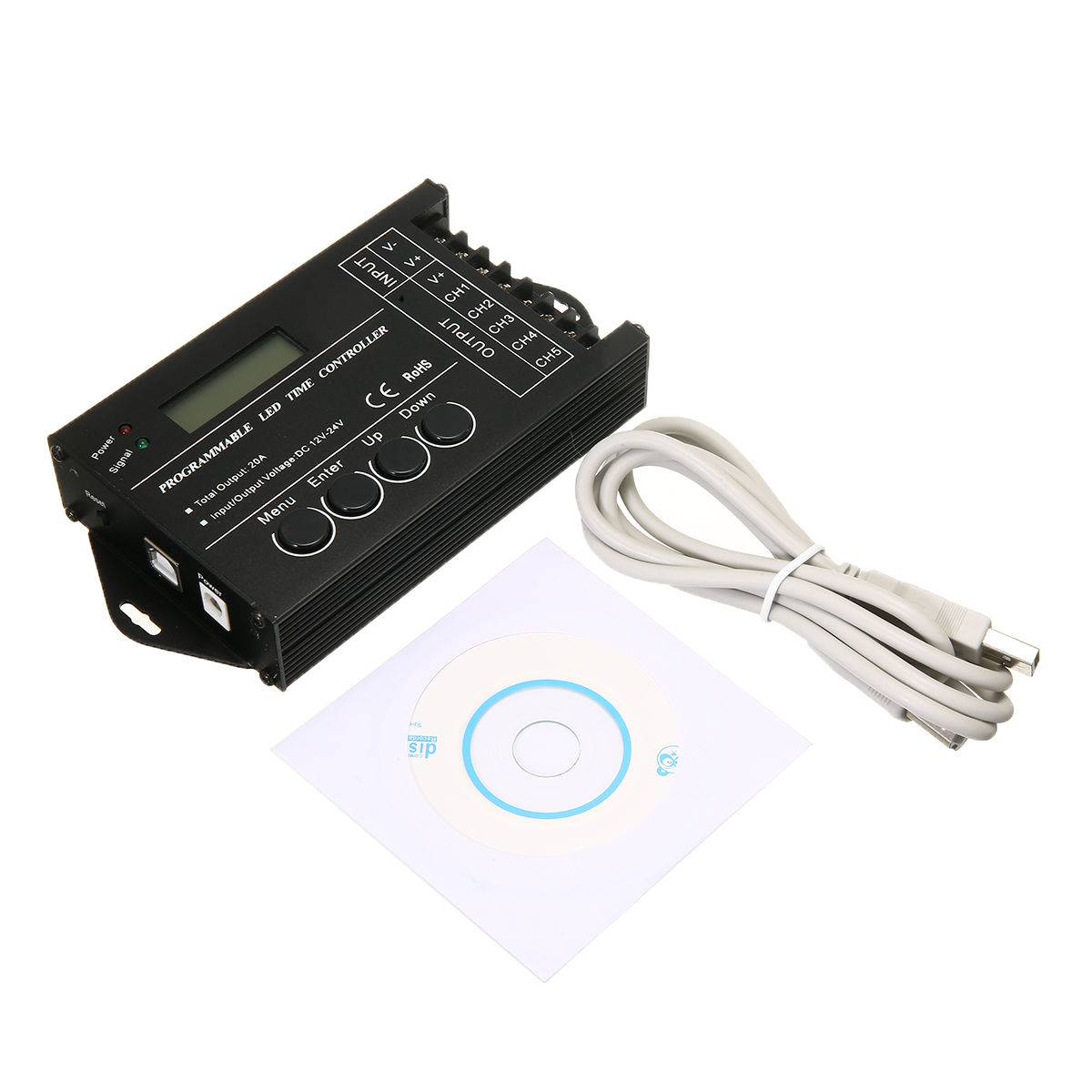 Multi function LED Time Light Controller Programmable RGB 5 channels DC12 24V 20A With Accessories in RGB Controlers from Lights Lighting