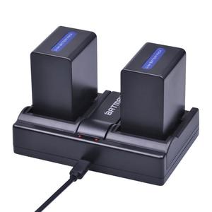 Image 1 - 2 adet 4500mAh NP FH100 NP FH100 Pil + USB çifte şarj makinesi Sony DCR SX40 SX40R SX41 HDR CX105 FH90 FH70 FH60 FH40 FH30 FP50