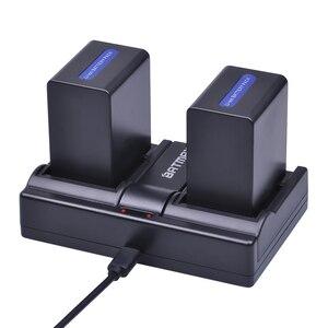 Image 1 - 2 pièces 4500mAh NP FH100 NP FH100 Batterie + Chargeur Double USB pour Sony DCR SX40 SX40R SX41 HDR CX105 FH90 FH70 FH60 FH40 FH30 FP50