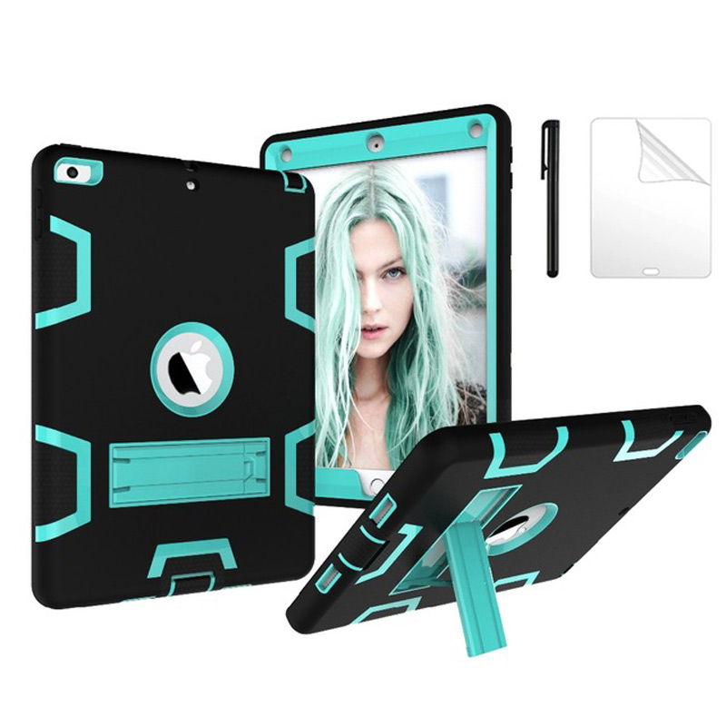 Safe Kids Armor Case For iPad 9.7 2018 6th Generation with Kids Safe Silicon PC Back cover For ipad 9.7 2017 case+film+pen