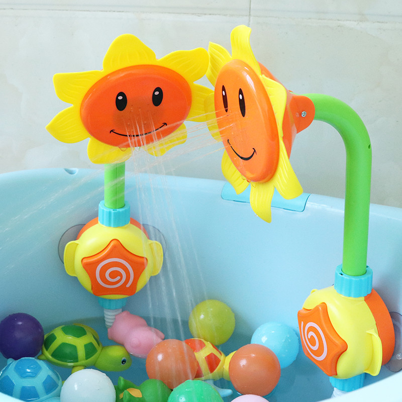 Baby Bath Toy Bathing Tub Sunflower Shower Bath Toys For Children Faucet Spray Water Swimming Bathroom  Funny Water Game