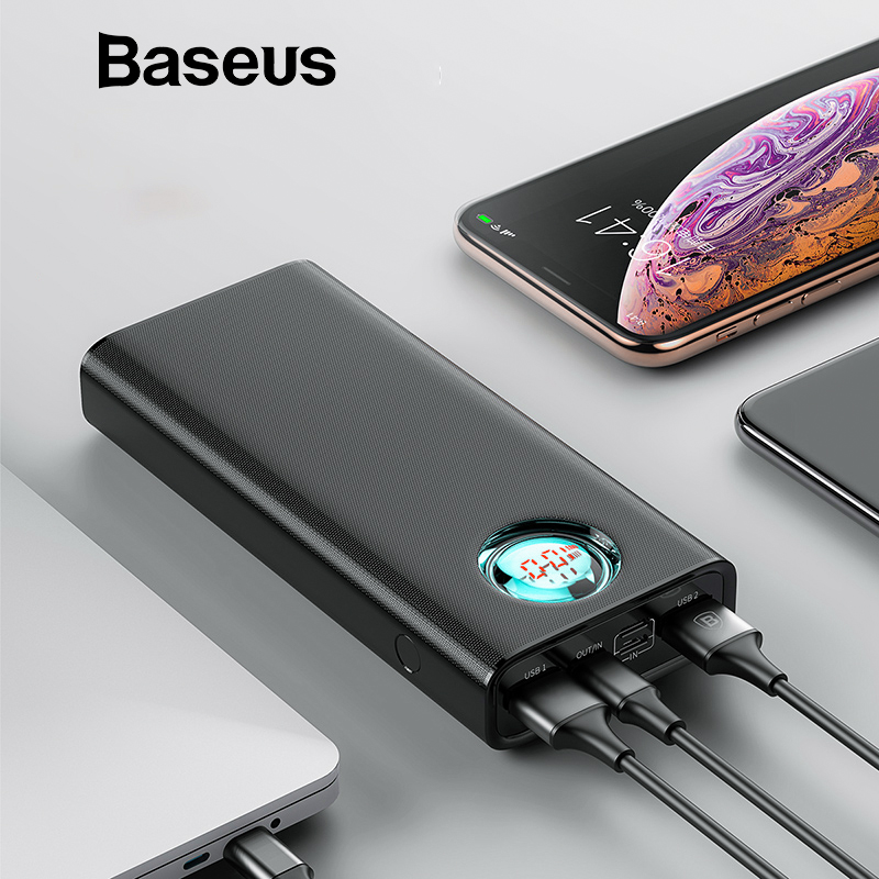 Baseus 20000 mAh Power Bank Für iPhone Samsung Huawei Typ C PD Schnelle Lade + Quick Charge 3,0 USB Power externe Batterie
