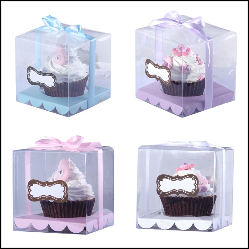 무료 배송 투명한 컵케익 상자 투명 케이크 상자 스티커와 종이 삽입 웨딩 컵케익 상자 더 많은 색상 잡아