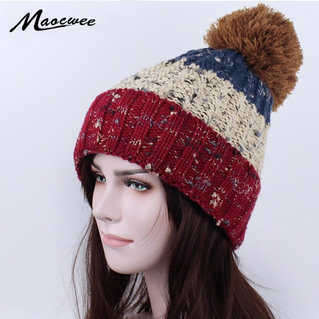f1a9c72d94803 Women's Knitted Hats Fashionable New Year's Warmer Hat Bonnet Laine Femme  Skull Balaclava Knitted Hat with