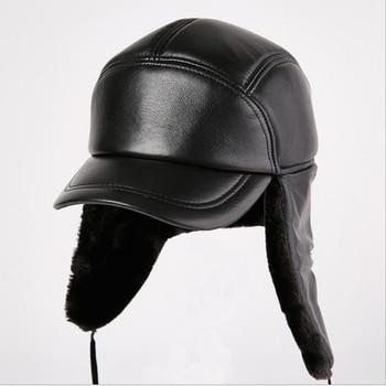 cf6c60b9e748 Sombrero clásico de piel sintética de invierno boinas gorra hombres Rusia  Newsboy sombrero con ...
