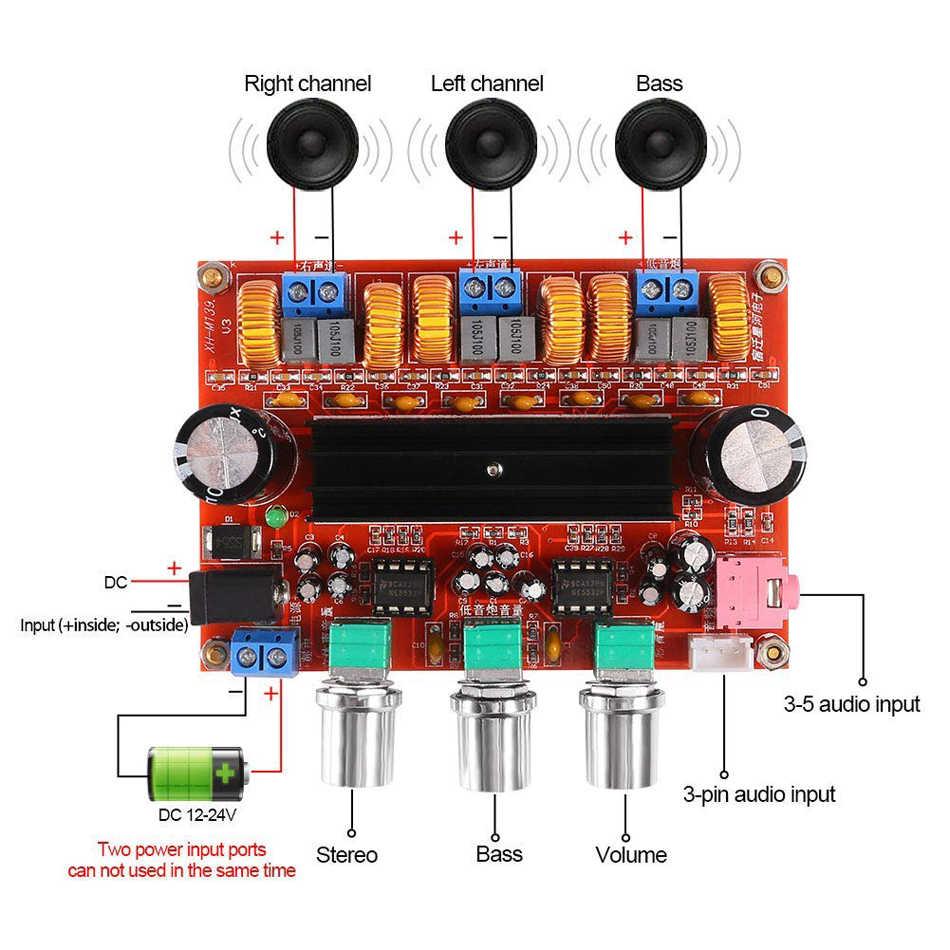 TPA3116D2 Amplifier Papan 2.1 Channel Kelas D Digital Power Audio Stereo Amp Modul 2X50 W + 100W untuk Sistem Audio DIY Speaker