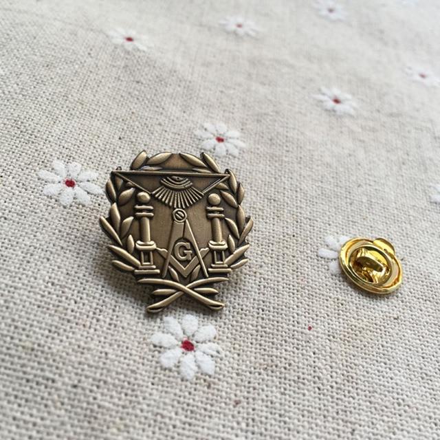 ebecfbe5156a 10pcs Wholesale Masonic Lodge Wreath Double Column Lapel Pin freemasonry  gift free mason brooches and pins badge masonic lodge