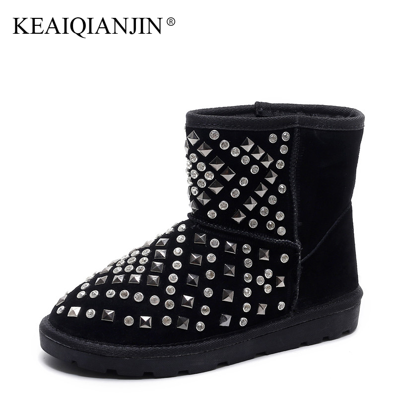 KEAIQIANJIN Woman Crystal Snow Boots Black Winter Genuine Leather Platform Ankle Boots Rivet Fashion Platform Snow Boots 2017 keaiqianjin woman studded snow boots pink black winter genuine leather flat shoes flower platform fur crystal ankle boot 2017
