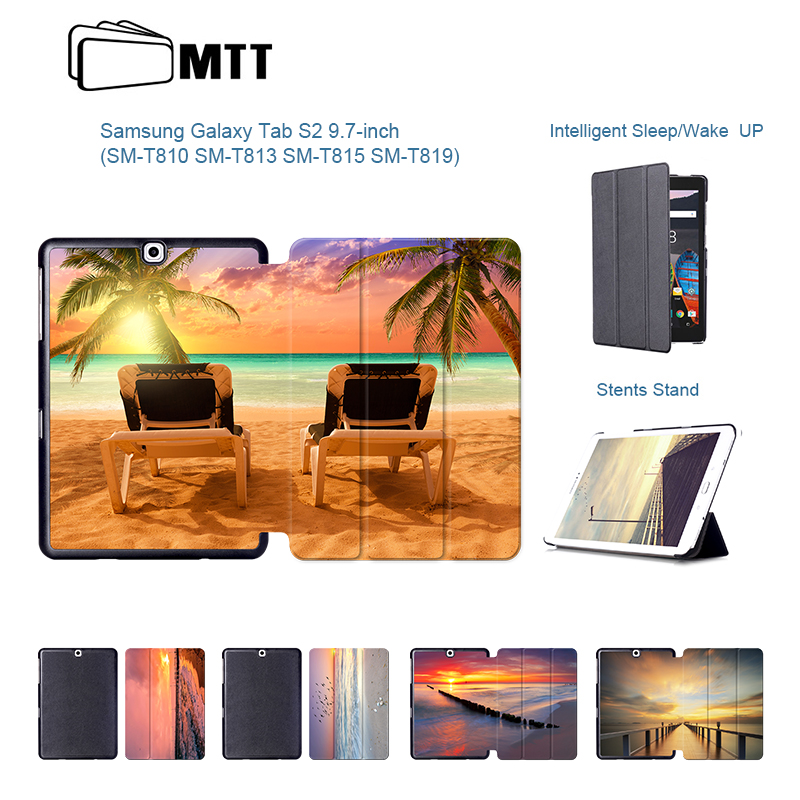 Colorful Seascape Magnetic PU Leather Cover for Samsung Galaxy Tab S2 9.7 SM-T810 T815 9.7'' Stand Case for Galaxy Tab s2 9.7 colorful magnetic pu leather case cover for samsung galaxy tab s2 8 0 sm t710 t715 tablet stand with card holder y4d33d